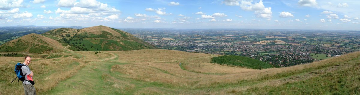 Malvern Hills panoramic photograph panoramic montage of 5 photographs.