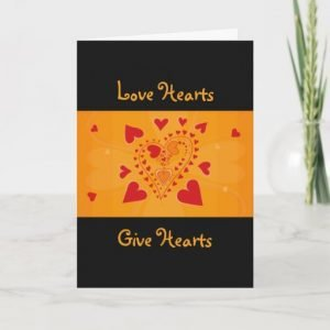 Love Hearts - Red Hearts Pattern - Gold and Black Valentines Greeting Card
