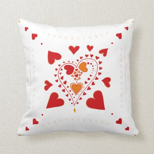 Red Hearts Pattern White Cushion