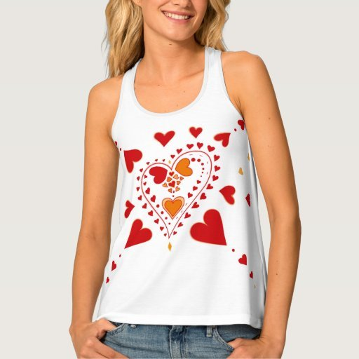 Red Hearts Pattern White Tank Top