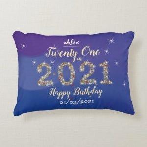Twenty One in 2021 - 21st Birthday Cushion - Blue and Gold