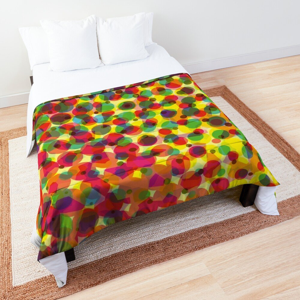 Spots and Bubble Pattern Red Yellow Green Comforter/Quilt