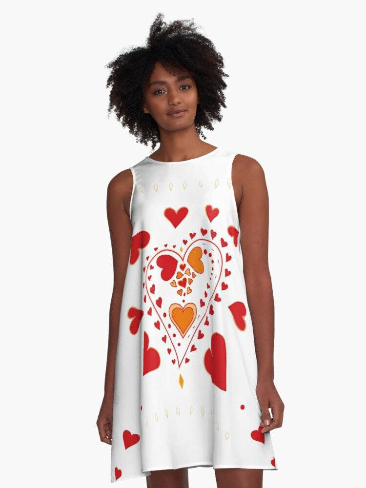 Red Hearts Pattern White A Line Dress