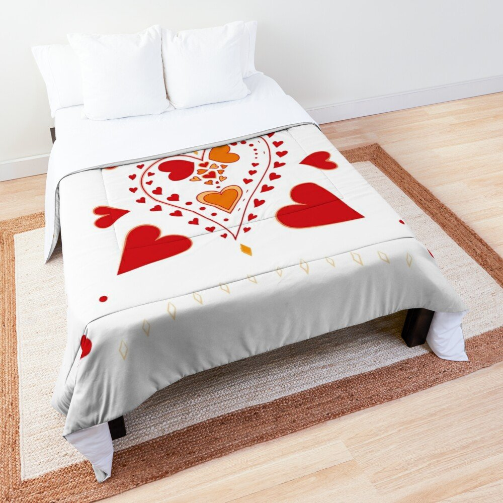 Red Hearts Pattern White Comforter/Quilt