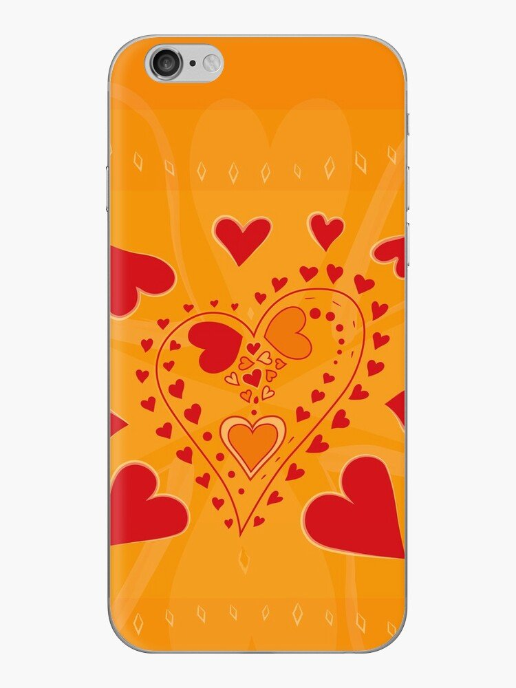 Red Hearts Pattern Gold iPhone skin