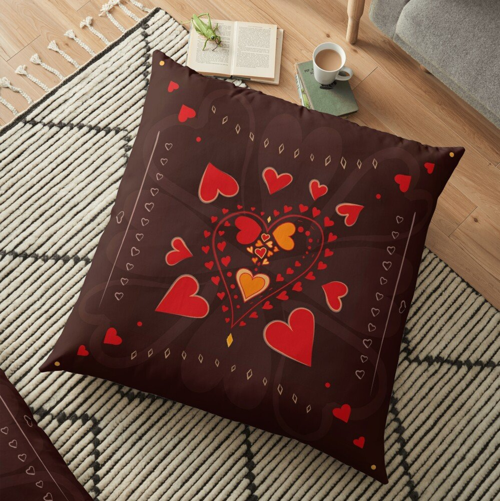 Red Hearts Brown Pattern Floor Pillow