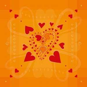 Red Hearts pattern - hearts in hearts - on golden background