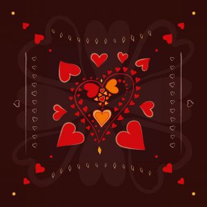 Red Hearts pattern on chocolate brown background