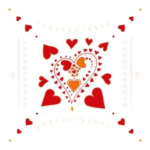 Red Hearts pattern - hearts in hearts - on white background