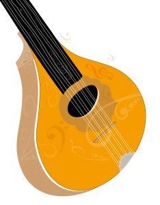 Bouzouki musical instrument art - vector illustration on white background
