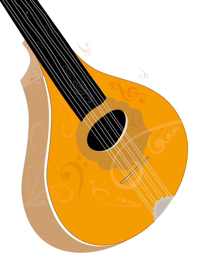 Bouzouki musical instrument art - vector illustration on white background