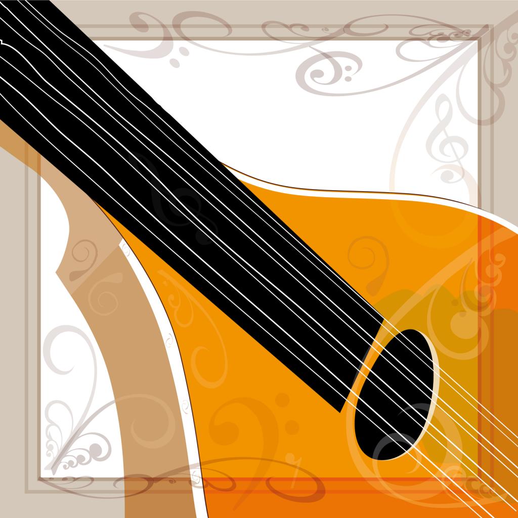 Bouzouki musical instrument art - vector illustration square design with border