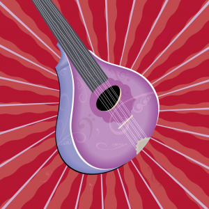 Bouzouki musical instrument art in purple and blue on red background with mauve and red radial lines